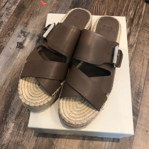 Taupe/Green leather espadrille sandals.